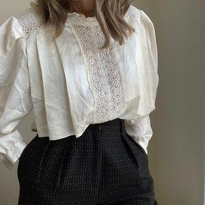 Silky Pleated Crochet Dolman Blouse